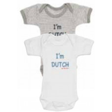 ISI MINI - Romper - Tekst: I'm Dutch - Grijs / Wit - 50/56 - set van 2