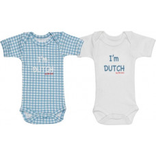 ISI MINI - Romper - Tekst: I'm Dutch - Blauw / Wit - 50/56 - set van 2