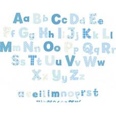 FUNTOSEE - Alfabet stickers voor aan de muur - Blauw