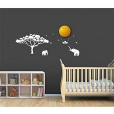 BABYZOO - Nachtlampje - Zon / Maan met stickers - Jungle, Olifant - Kinderkamer - LED