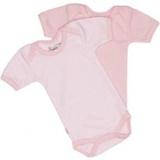 ISI MINI - Teddy romper - korte mouw - Roze en streep - maat 44/48 - set van 2