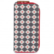 PINK LINING - wallet - diamond heart - grey & red